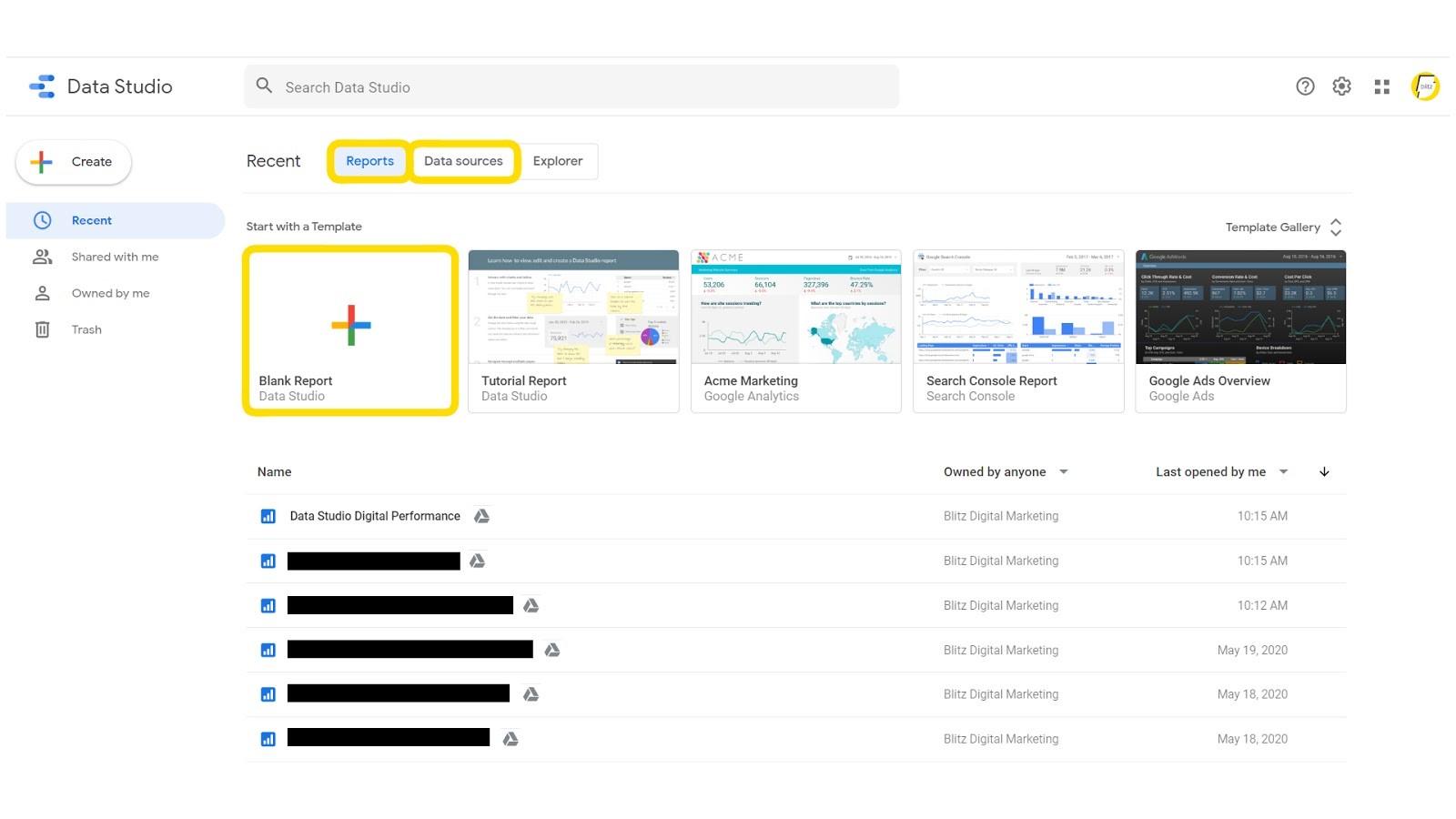 Image showing the inside of Google Data Studio