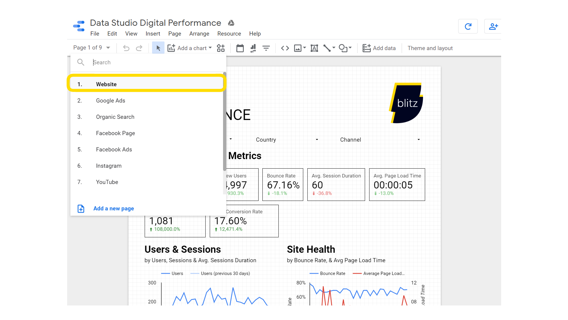 Overview of different pages in Google Data Studio