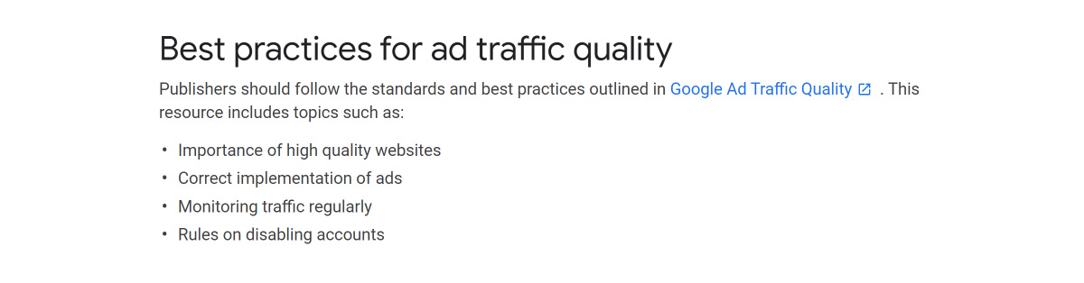 "Google's ""best practices for ad traffic quality"""